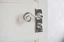 Curled Handle, Bristol Privacy Plate, Nickel