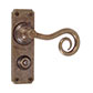 Curled Handle, Ilkley Privacy Plate, Antiqued Brass