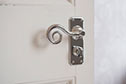 Curled Handle, Ilkley Privacy Plate, Nickel