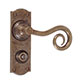 Curled Handle, Nowton Privacy Plate, Antiqued Brass