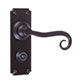 Scrolled Handle, Ilkley Privacy Plate, Matt Black