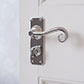 Scrolled Handle, Ilkley Privacy Plate, Nickel
